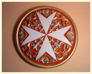 Tile Round Cross Large Coloured Red