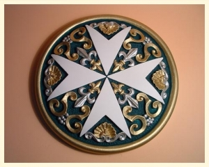 Tile Round Cross Large Coloured Green